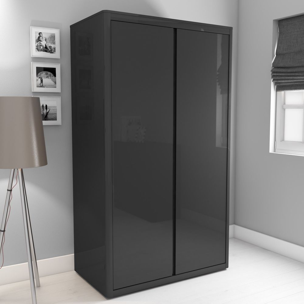 Double Door Wardrobe Anthracite Glossy Finish Wooden