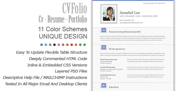 Cv Resume Builder Newsletter Templates Cv Folio  Email Resume  Portfolio  Cv
