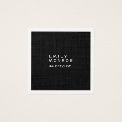 Luxury linen plain black white modern minimalist square business card luxury linen plain black white modern minimalist square business card professional gifts custom personal reheart Image collections