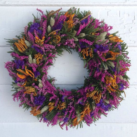Photo of Purple, Yellow and Pink Spring Dried Flower Wreath