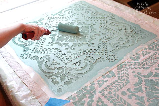 Stenciled Drop Cloth Table Runner Furniture Ideas Amp Room