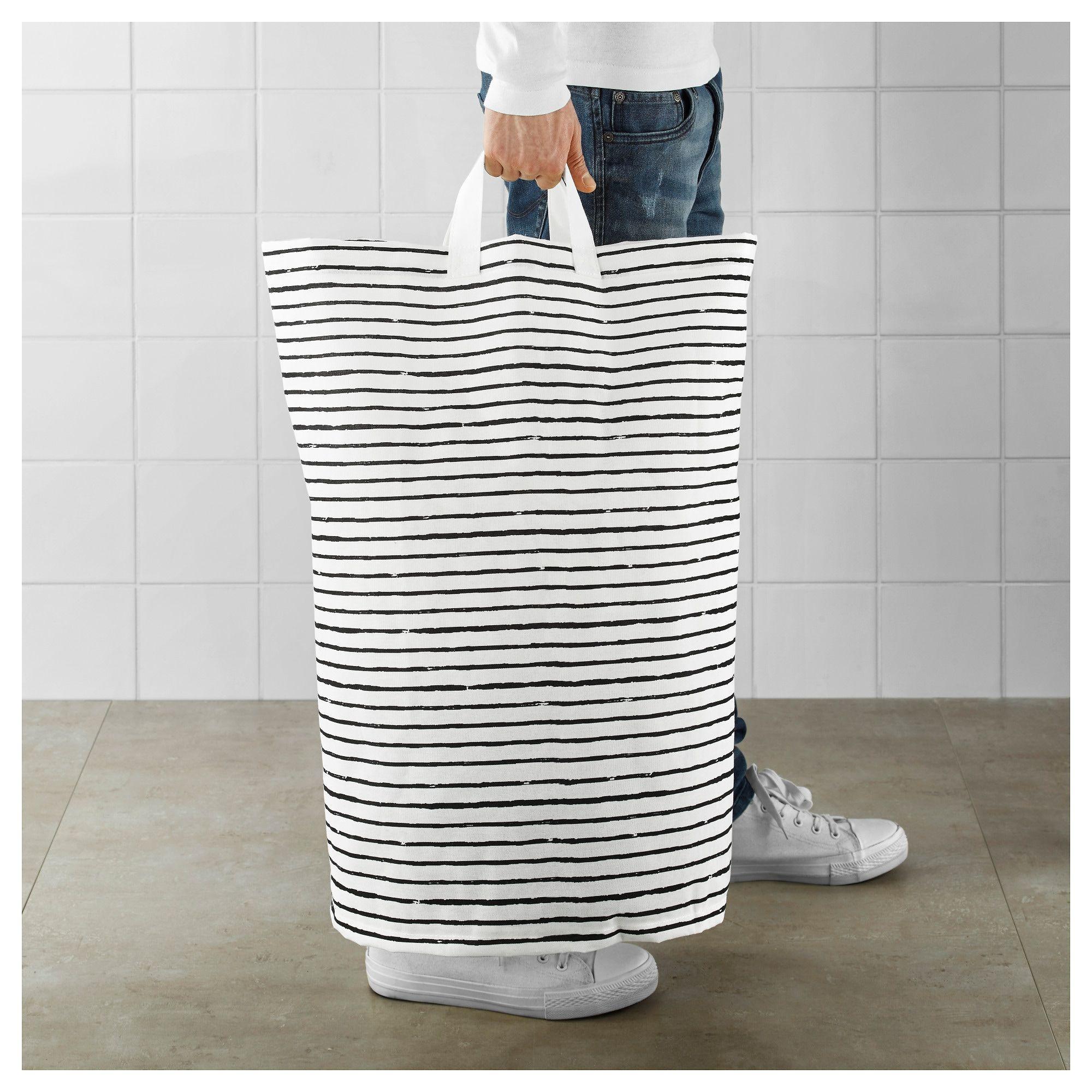 Ikea Klunka White Black Laundry Bag In 2020 Ikea Laundry Ikea