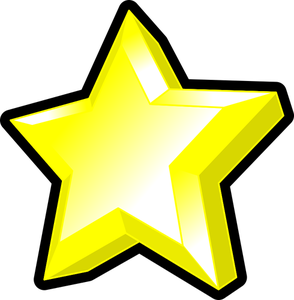 Image Of Bright Yellow Star With Bevel 3d Star Clip Art Stars