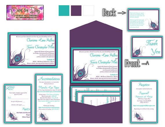 wedding pocketfold invitation template instant download peacock