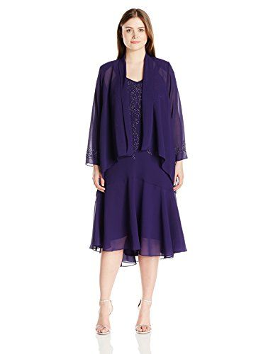 RM Richards Womens Plus Size 2 Pce Beaded Georgette Jacket Dress Purple 14W -- For more information, visit image link.(This is an Amazon affiliate link and I receive a commission for the sales)