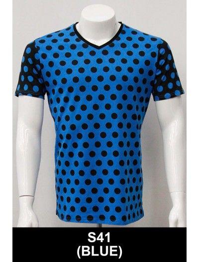 Men's S/S Tee by Barabas - Blue / Dots #fashionmenswear #polkadots #mensfashion #tshirtsformen #blueshirtforman