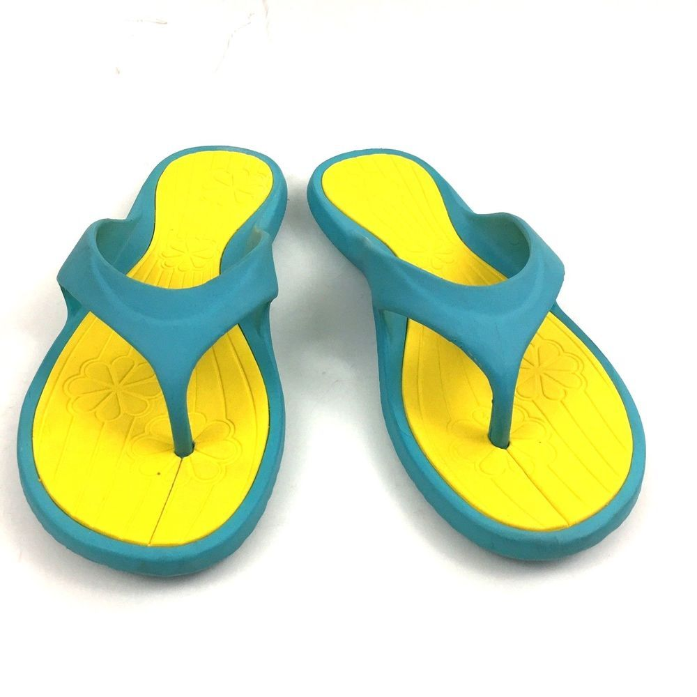 169e430e7a0 Grendene Flip Flops Sz 7 8 Blue Yellow Thong Sandals Cushioned Floral  Insole Vtg
