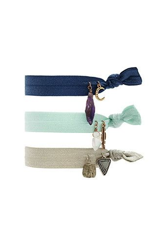 Etched Charm Flat Hair Tie Set