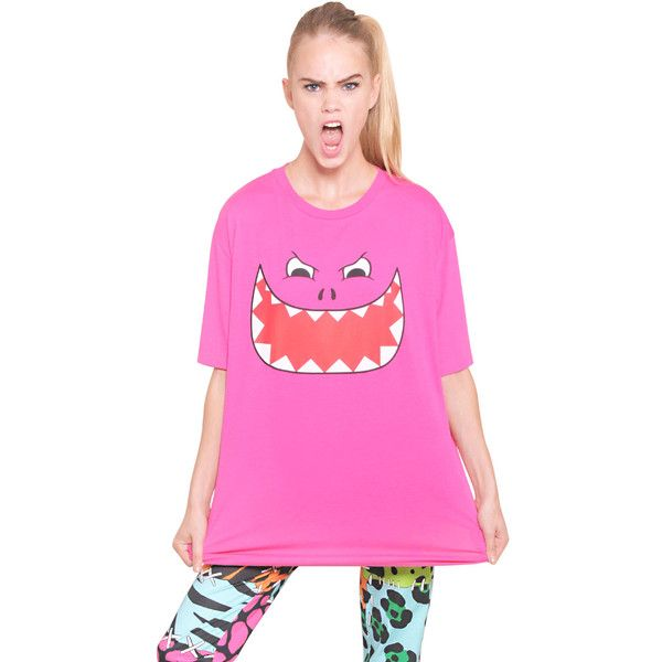 MOSCHINO CHEAP&CHIC Oversized Monster Printed Cotton T-Shirt (595 CNY) ❤ liked on Polyvore featuring tops, t-shirts, pink, cotton t shirts, cotton tee, oversized t shirts, pink top and pink t shirt