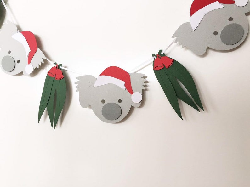 Koala Christmas Garland Koala And Gum Leaf Xmas Banner Photo Prop Christmas Party Decor Bunting Christmas Decorations Australian Aussie Christmas Australian Christmas
