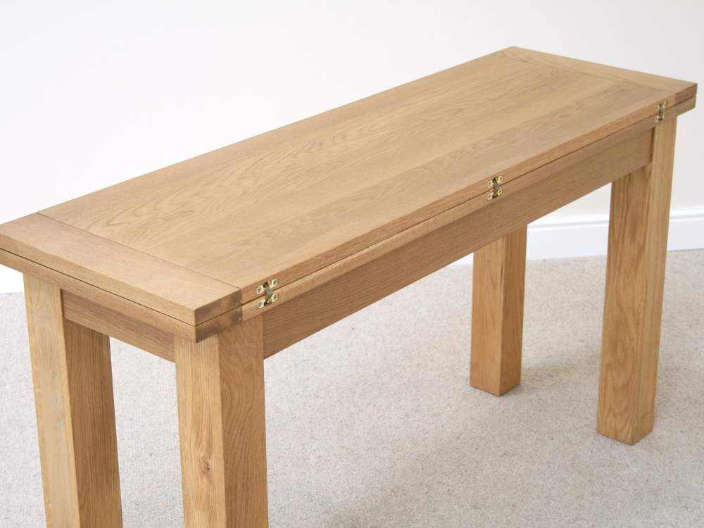 Lichfield Narrow Flip Top Oak Extending Table 140cm X 45cm