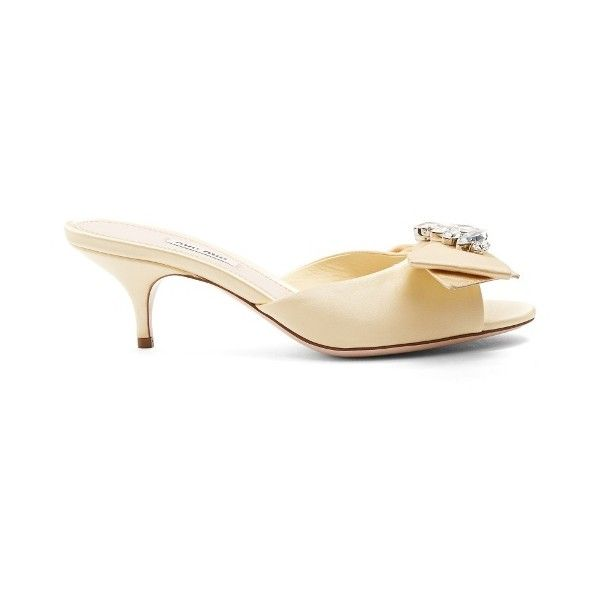 f247b8e58f53 Miu Miu Embellished-bow satin sandals (€760) ❤ liked on Polyvore ...