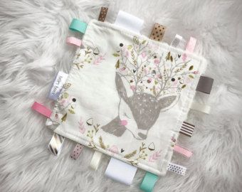 Baby girl deer taggy blanket. Security blanket. Baby taggy.baby gift.sensory blanket. Baby toy. Ribbon tags.minky back.gifts for baby.