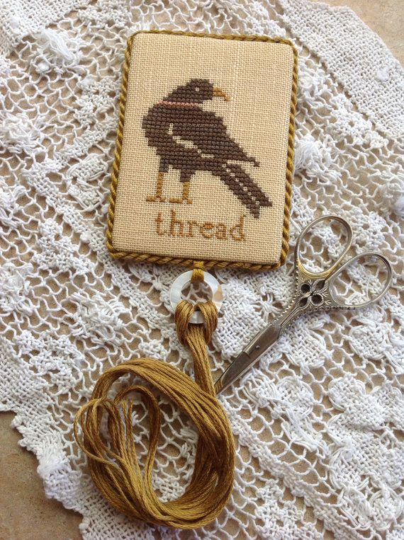 Hand stitched cross stitched black crow thread holder by Brenda ...