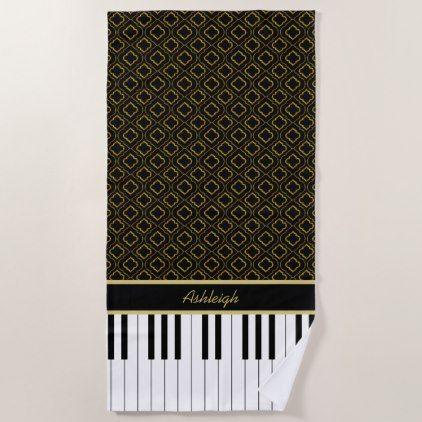 Elegant Custom Piano Keys with Gold Quatrefoil Beach Towel - home gifts cool custom diy cyo