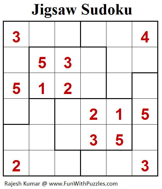 graphic relating to Jigsaw Sudoku Printable named Jigsaw Sudoku Puzzle (Mini Sudoku Sequence #102) Printable
