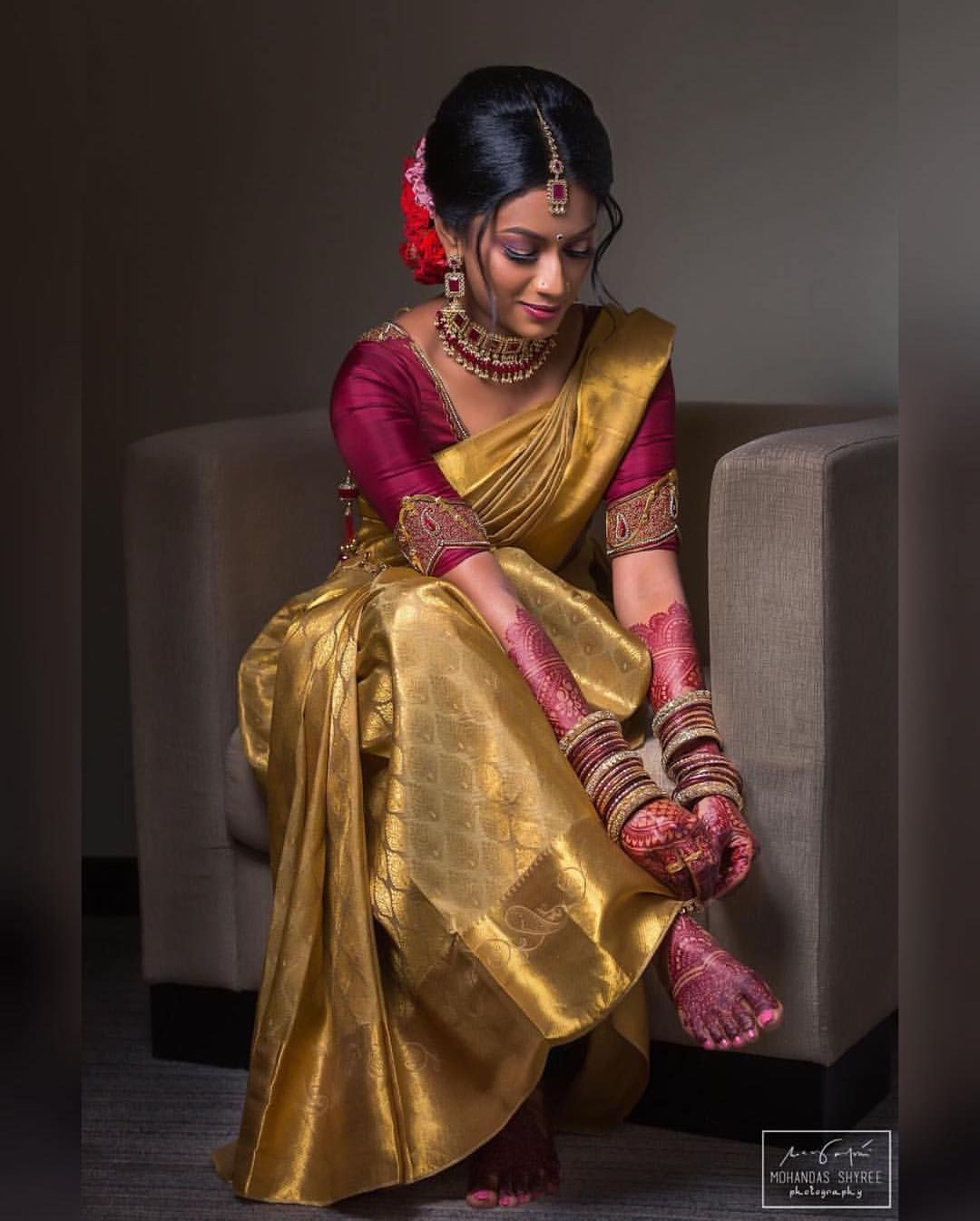 """B L O U Z E S on Instagram: """"💫Stunning in Gold, The Bride Preps Herself To Meet Her Prince Charming 💕 #blouzes  Photography : @mohandas.shyree.photography Mua :…"""""""