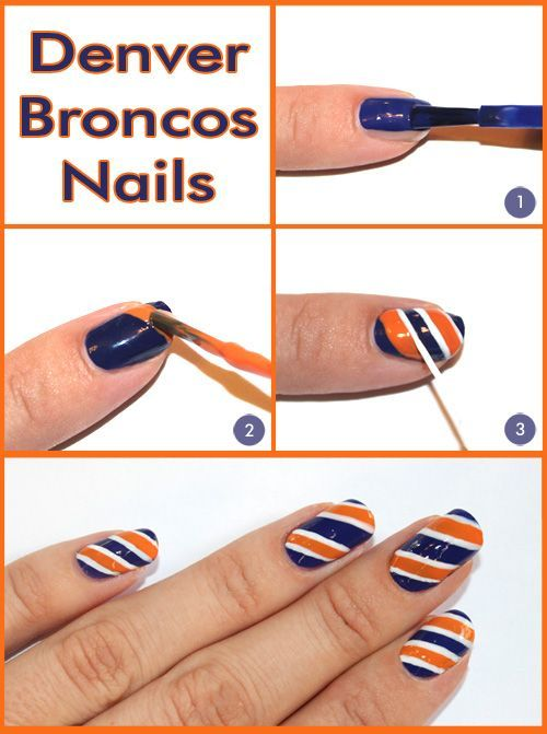 Super Bowl nail art — Broncos color combo But in patriot colors - CLICK HERE FOR FULL SIZE Nail Design Pinterest Color Combos