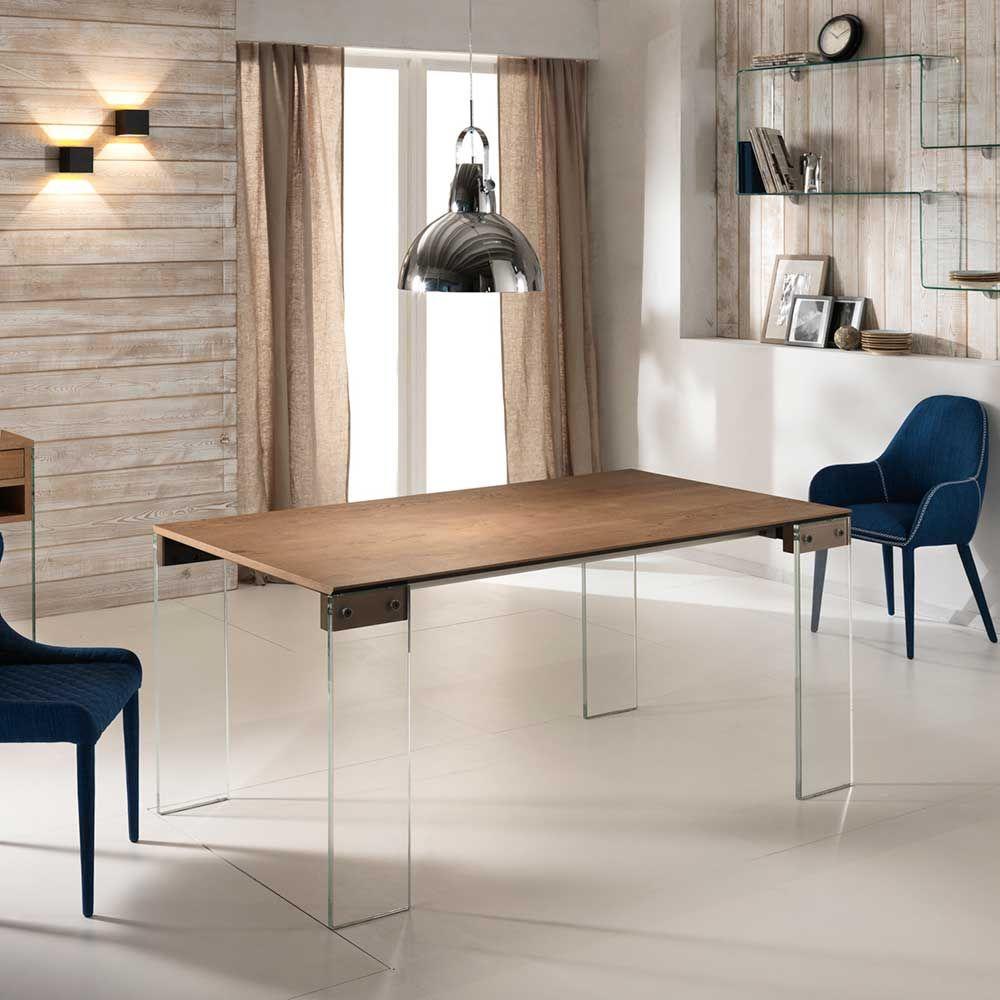 Ausziehbarer Esstisch Mit Glasbeinen Eiche Furniert Jetzt Bestellen Unter:  ...