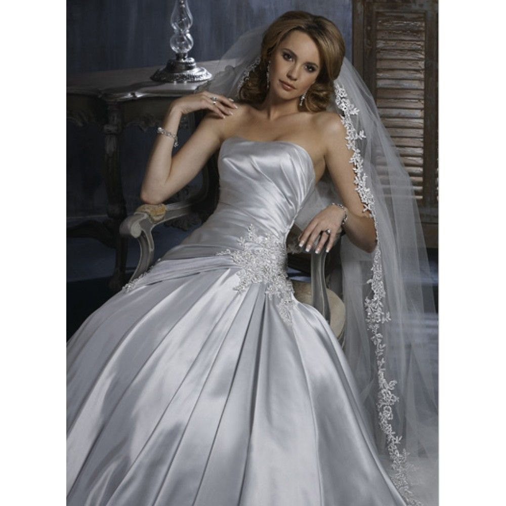 Images Of Wedding Silver A Symmetrical Gowns Line Strapless Beading Lace Satin Long Dress