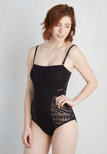 Like the stripes of sunlight that shine on your wall, this black bathing  suit welcomes rays to partner up with its sheer, patterned panels while you  lie by ... 60bd896d3f