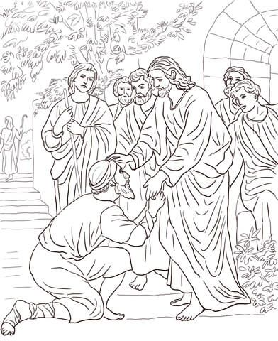 Jesus Heals The Leper Coloring Page From Jesus Mission Period