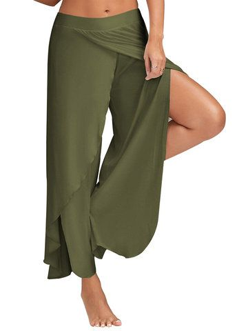 f5211b8a5a5be Women Casual Loose Solid Color Elastic Waist Slit Wide Leg Pants ...