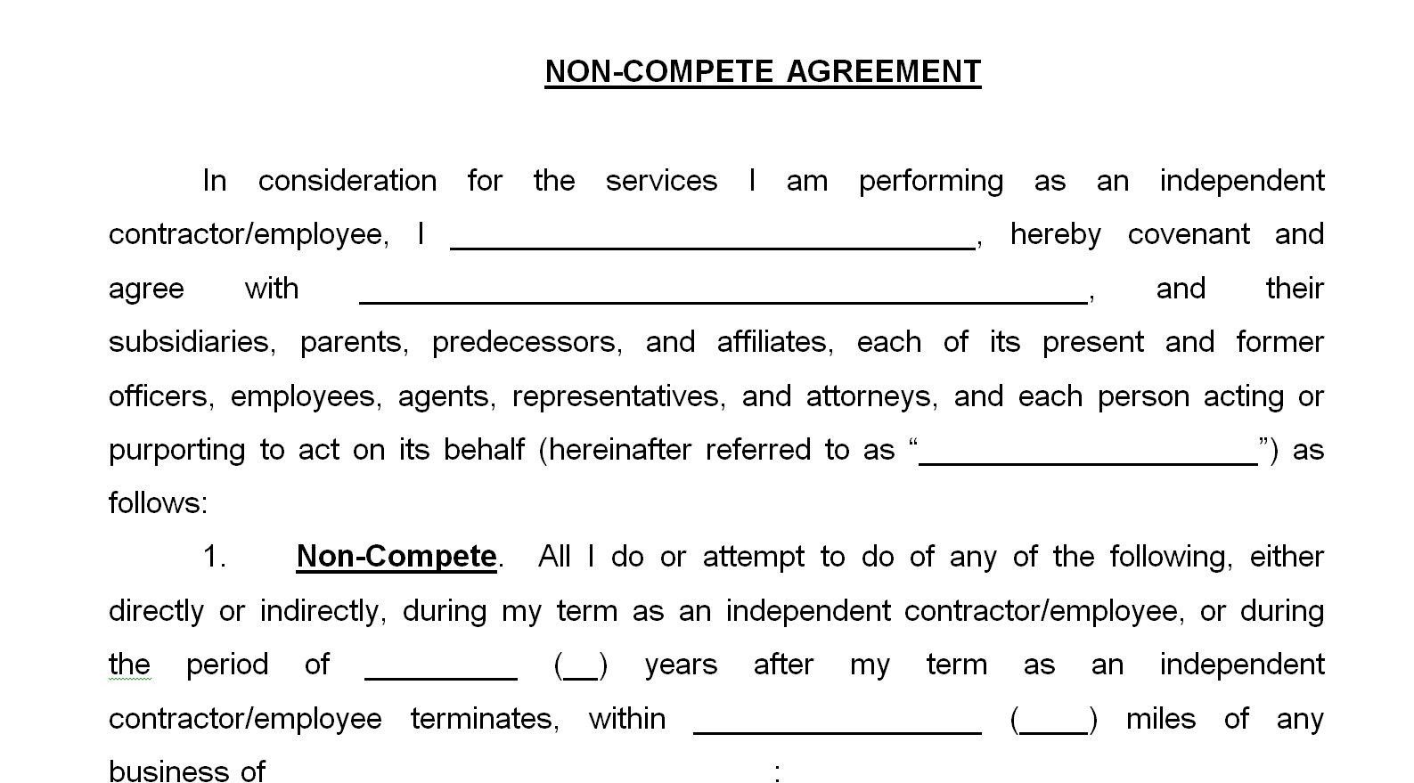 Restaurant Non Compete Agreement Template Sample Templates Business Template Competing