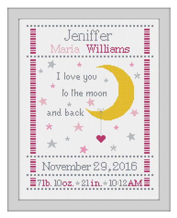 cross stitch baby birth sampler birth announcement I love