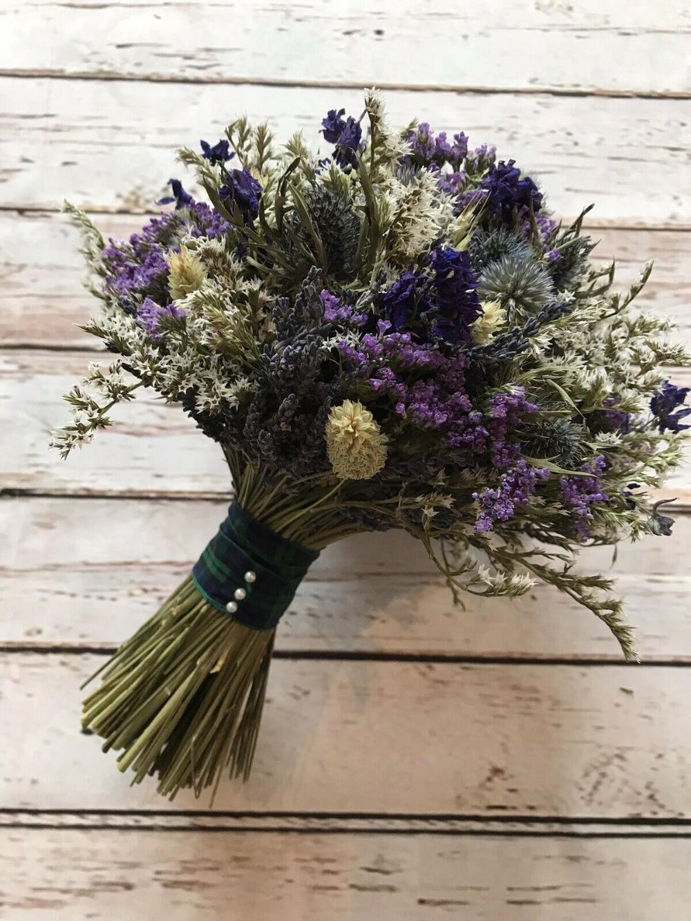 Dried Flower Wedding Bouquet Thistle Scottish Bride Tartan