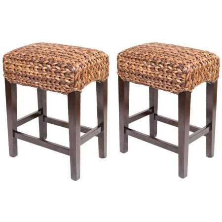 Birdrock Home Abaca Backless Counter Stools Set Of 2 Brown Amusing Walmart Kitchen Stools Decorating Inspiration