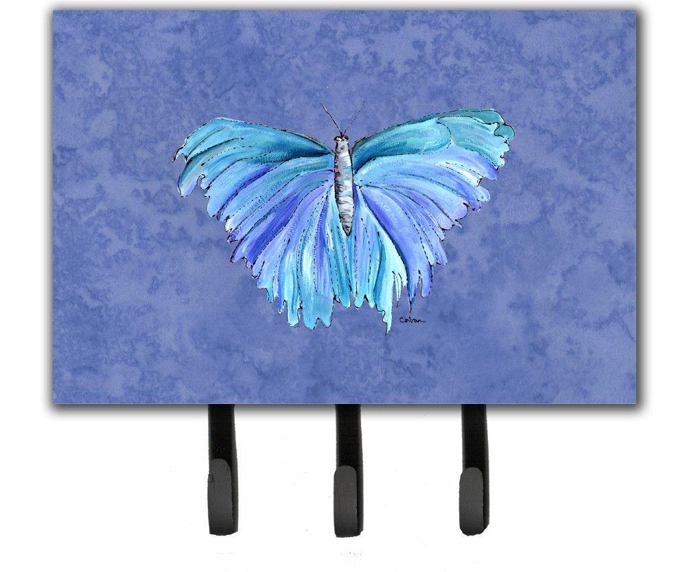 Butterfly on Slate Blue Leash or Key Holder
