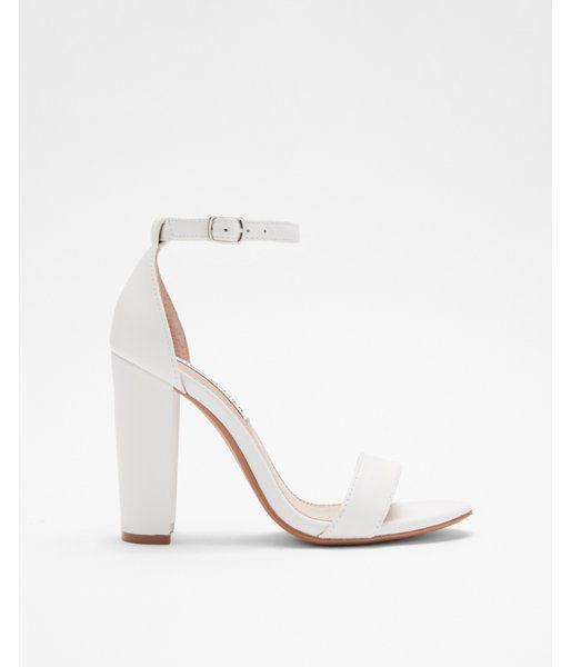 348a445b19b74 Steve Madden Solid Carrson Heeled Sandals White Women's 6.5 ...