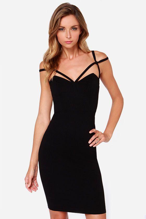 Under a spell black midi dress