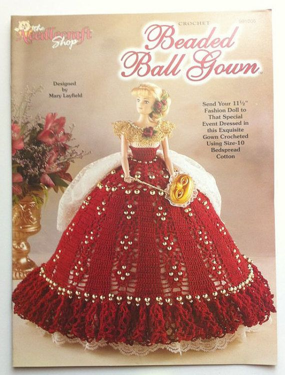Beaded Ball Gown Thread Crochet Barbie Doll Dress Pattern By The