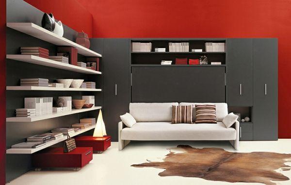 moderne wohnideen klappbett schrankbett weies sofa rote wandgestaltung kleine rumewandgestaltungplatzsparende - Platzsparende Betten Fr Kleine Rume