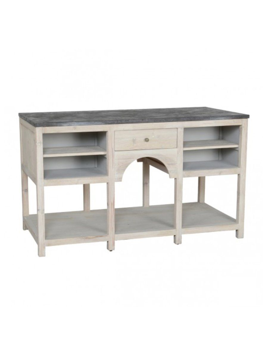 "Channing 60"" Stone Top Kitchen Island"