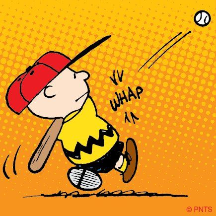 At least Charlie Brown has managed to get the baseball in the air, I don't think that he ever managed to kick that football when Lucy was holding it!