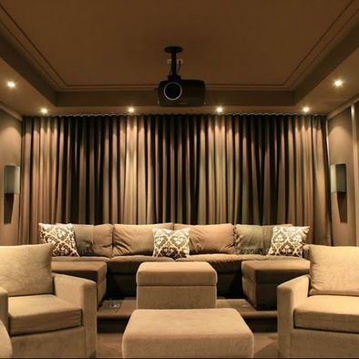 Media Room Design Curtain Over Wall