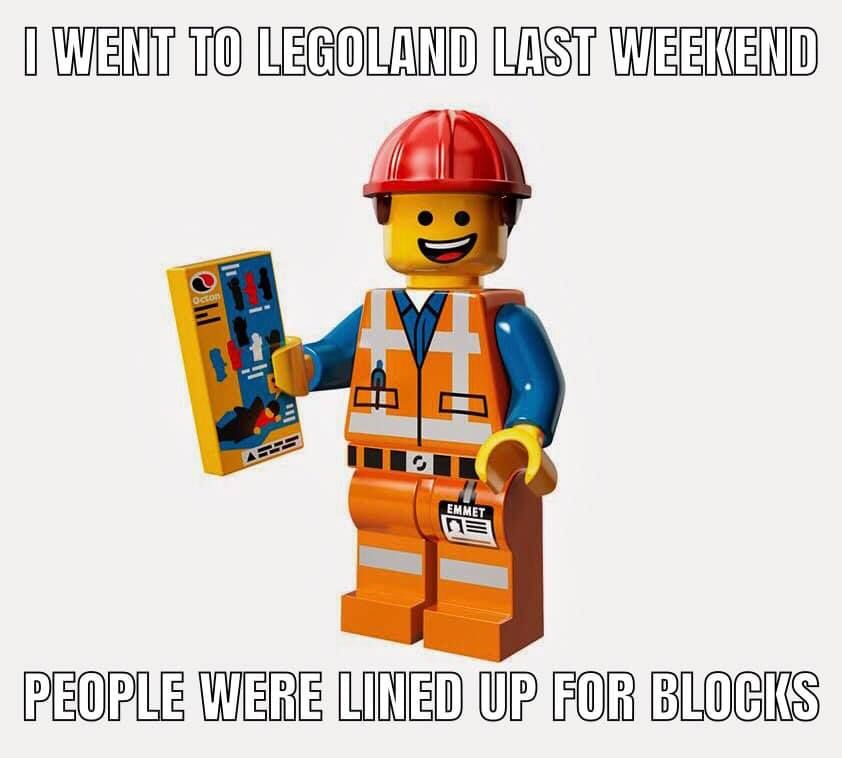Pin By Kevin Casto On Visual Puns Lego Memes Lego Humor Lego Movie
