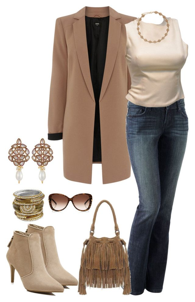 """""""marrom"""" by daianetavares310 ❤ liked on Polyvore featuring Oasis, LC Lauren Conrad, Versace and Chamak by Priya Kakkar"""