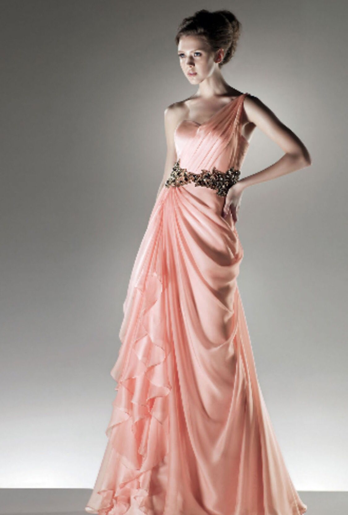 Size 10/12 peach pink long evening gown. Rent this dress for any ...