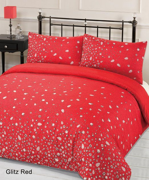 Designed By DEBORAH WILLMINGTON DESIGNS   Glitz Red Duvet Cover Bedding Set  Single Double King Size
