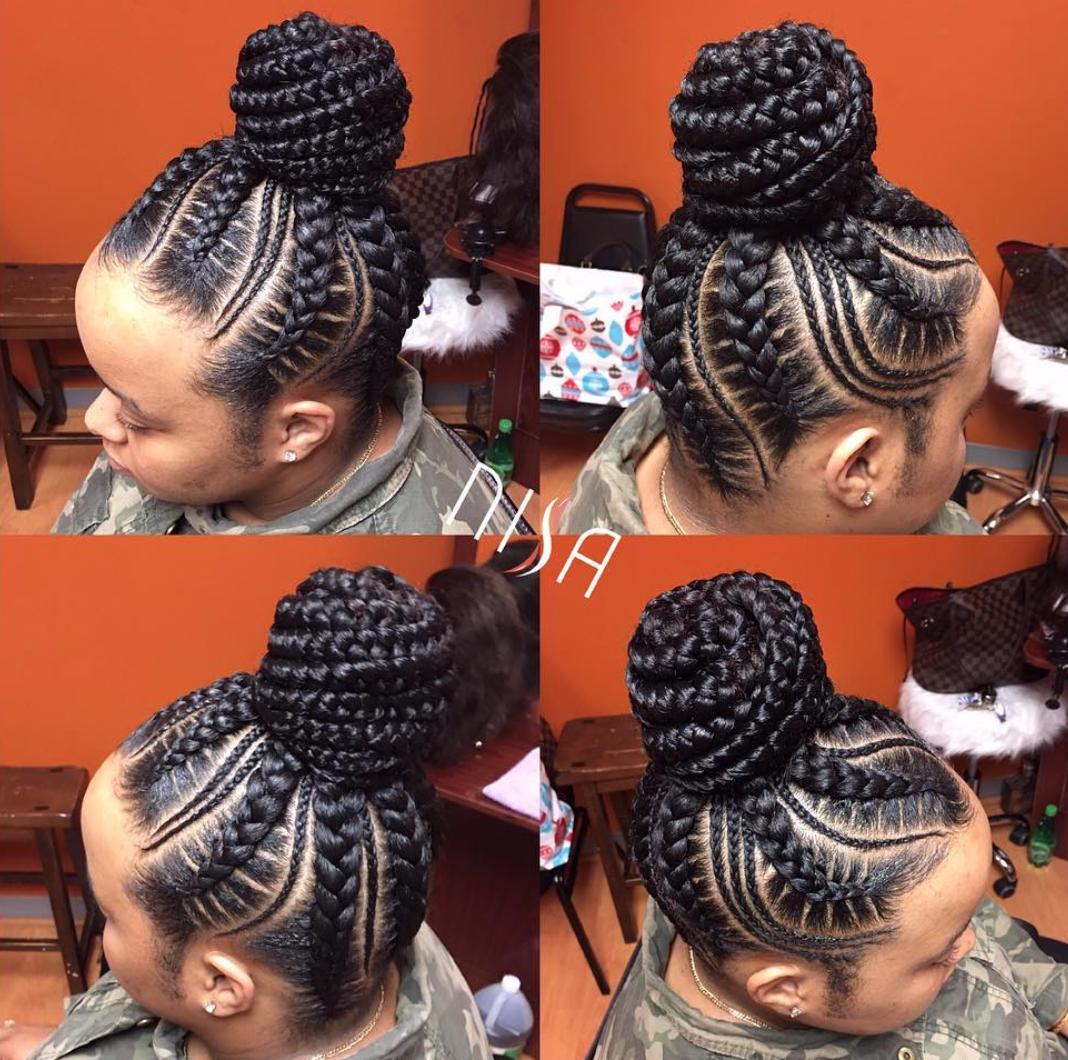 Suficiente Trança raiz com coque com tranças ☺ | Tranças Afro | Pinterest  DU32