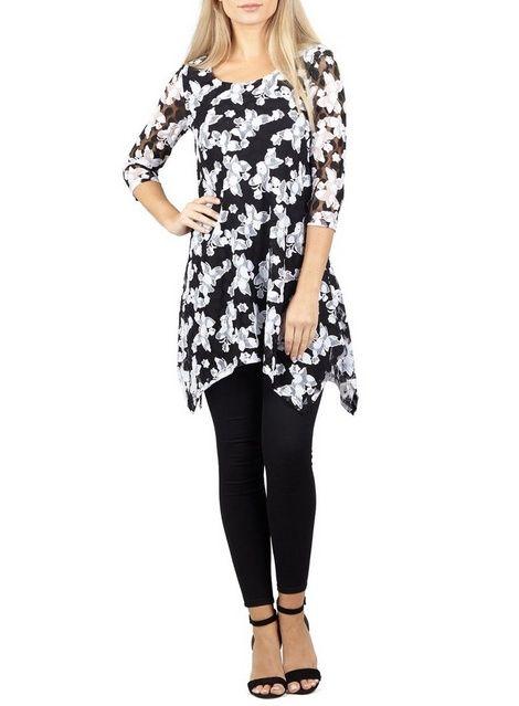 4f1ad7e69bb Womens *Izabel London Black Floral Hanky Hem Top- Black | Products ...