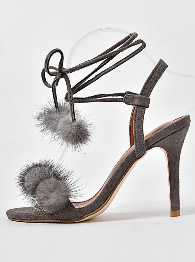 Open Toe Stiletto Ankle Strap Sandals with Pom This dress is madetoorder by professional tailors You can choose from 48 colors regular sizes 2 to 16  plus sizes 16w to 26...