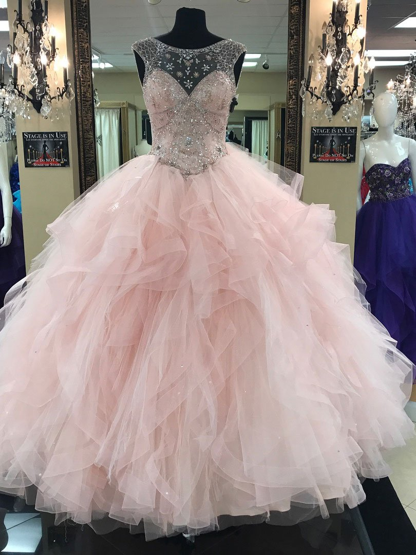 Light pink ball gownillusion neck tulle skirt quinceanera dresses