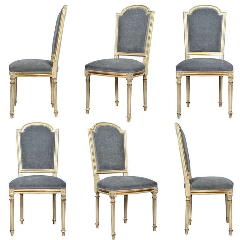 French Louis XVI Set of Six Dining Chairs - French Louis XVI Set Of Six Dining Chairs Dining Chairs, Dining