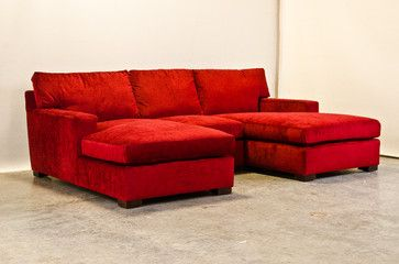 Red Chenille Matthews Sectional With Two Chaise Sofas