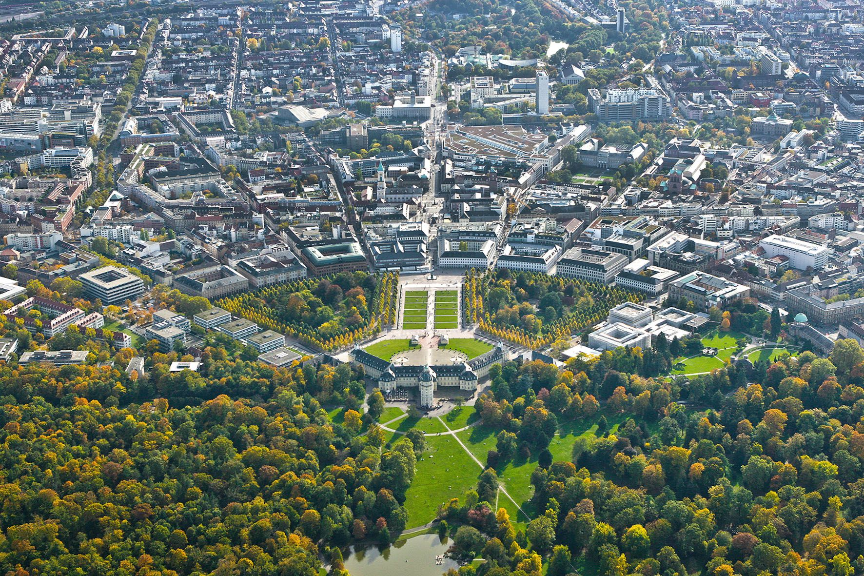 aerial view of karlsruhe laid out from 1715 karlsruhe an original hunting tower of 1715 was. Black Bedroom Furniture Sets. Home Design Ideas